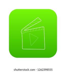 Slapstick icon green vector isolated on white background