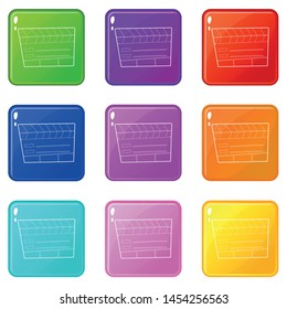 Slapstick icons set 9 color collection isolated on white for any design