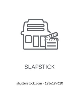 slapstick linear icon. Modern outline slapstick logo concept on white background from Cinema collection. Suitable for use on web apps, mobile apps and print media.