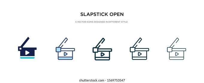 slapstick open icon in different style vector illustration. two colored and black slapstick open vector icons designed in filled, outline, line and stroke style can be used for web, mobile, ui