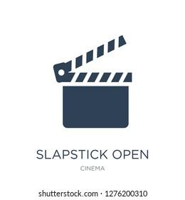 slapstick open icon vector on white background, slapstick open trendy filled icons from Cinema collection, slapstick open vector illustration