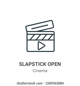 Slapstick open outline vector icon. Thin line black slapstick open icon, flat vector simple element illustration from editable cinema concept isolated on white background