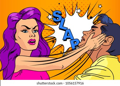 Slap,the relationship of men and women. Harrassment. Fight,woman hits man. Domestic violence. Crime. Pop art retro vector illustration. Comic Vector cartoon illustration explosions.Comics Boom.Pop-art