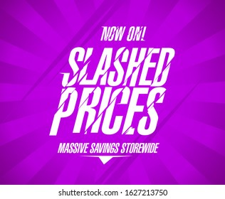 Slashed prices banner template, massive savings storewide sale