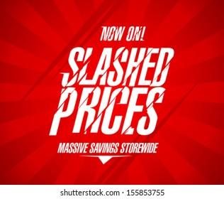 Slashed prices design template.