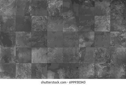 Slate tile ceramic, seamless texture square dark gray map, vector graphics