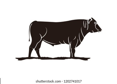 slaughter, Cattle , Beef logo Designs Inspiration Isolated on White Background