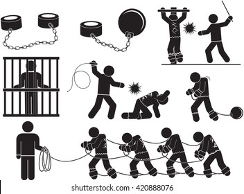 slave labor icon set - Illustration