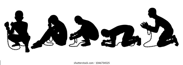 Slave silhouette vector set