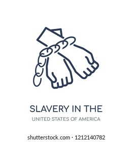 slavery in the united states icon. slavery in the united states linear symbol design from United states of america collection. Simple outline element vector illustration on white background.