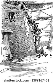 Slaves of Africa jumping  From the ship ,vintage line drawing or engraving illustration.
