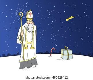 Slavic custom. Saint nicholas holding shining staff.