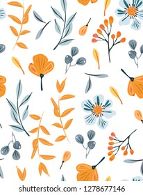 Slavic floral ornament with orange flowers and leaves. Vintage seamless pattern in blue and orange elements on white background.