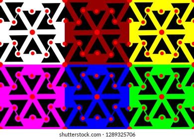 Slavic god Perun seamless pattern, Symbols of Perun (black, white, red, blue, green, purple, yellow) background set, Slavic amulets,