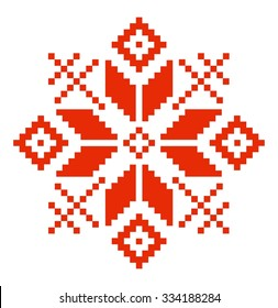 Slavic red and Belarusian national ornament. Embroidery.Vector illustration.