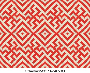 Slavic Red Ornament Seamless Vector Pattern