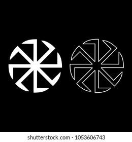 Slavic slavonis symbol Kolovrat sign sun icon set white color