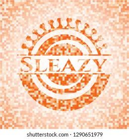 Sleazy abstract orange mosaic emblem