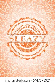 Sleazy abstract orange mosaic emblem with background
