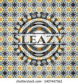 Sleazy arabic style badge. Arabesque decoration.
