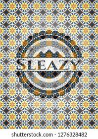 Sleazy arabic style emblem. Arabesque decoration.