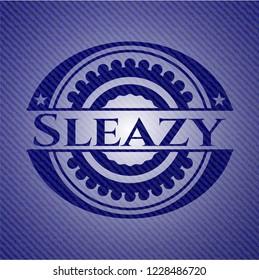 Sleazy badge with denim texture