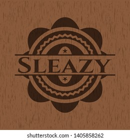 Sleazy badge with wooden background