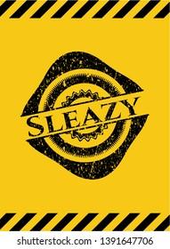 Sleazy black grunge emblem, yellow warning sign. Vector Illustration. Detailed.