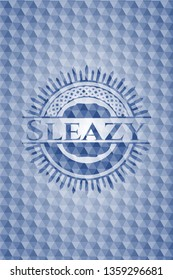 Sleazy blue emblem or badge with abstract geometric polygonal pattern background.