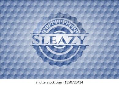 Sleazy blue hexagon badge.