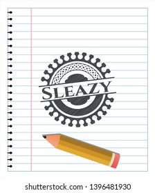 Sleazy emblem drawn in pencil. Vector Illustration. Detailed.