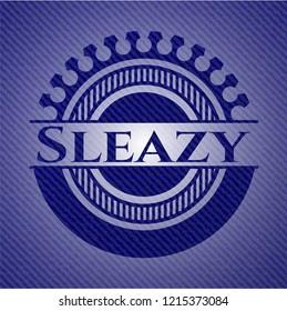 Sleazy emblem with jean background