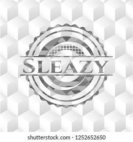 Sleazy grey badge with geometric cube white background