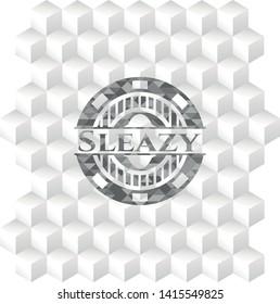 Sleazy grey emblem. Vintage with geometric cube white background