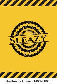 Sleazy inside warning sign, black grunge emblem. Vector Illustration. Detailed.