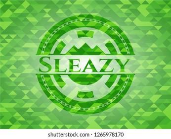 Sleazy realistic green emblem. Mosaic background