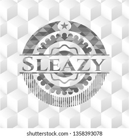 Sleazy realistic grey emblem with cube white background