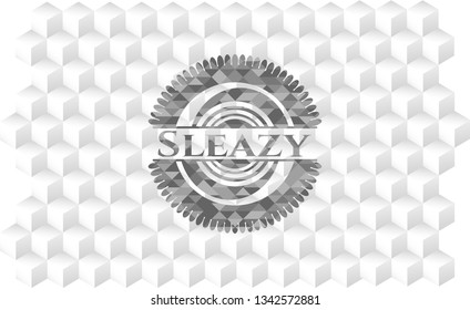 Sleazy realistic grey emblem with geometric cube white background