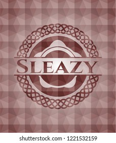 Sleazy red seamless badge with geometric pattern background.