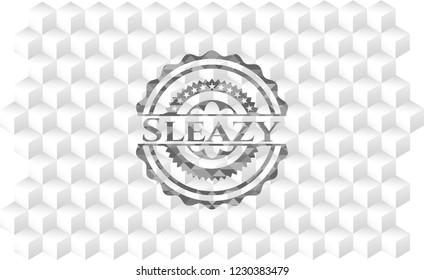 Sleazy retro style grey emblem with geometric cube white background