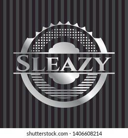 Sleazy silvery emblem. Vector Illustration. Mosaic.
