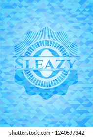 Sleazy sky blue emblem with mosaic ecological style background