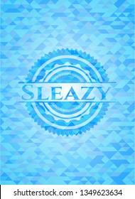 Sleazy sky blue emblem. Mosaic background