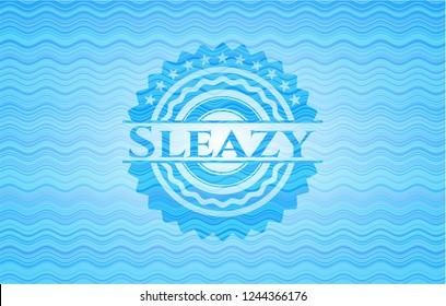 Sleazy water representation emblem background.