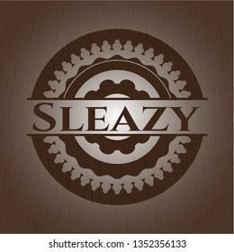 Sleazy wooden emblem. Retro