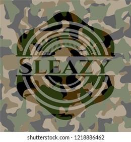Sleazy written on a camo texture