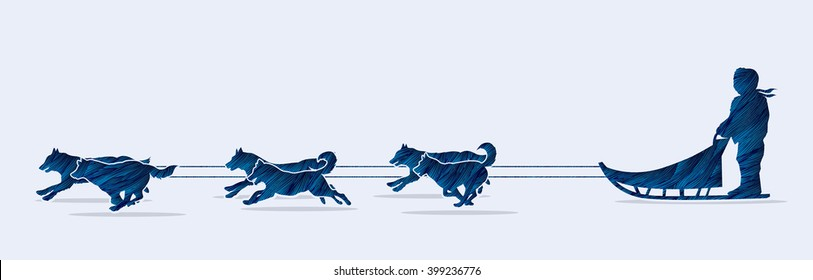 Sled Dogs designed using blue grunge brush graphic vector.