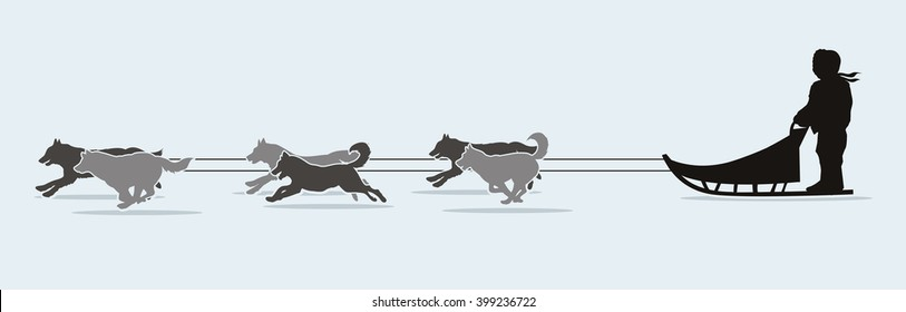 Sled Dogs graphic vector.