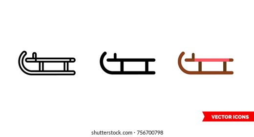 Sled icon of 3 types: color, black and white, outline. Isolated vector sign symbol.