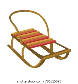Sledge for children. Cartoon illustration of winter transportation. Sledges for snow.